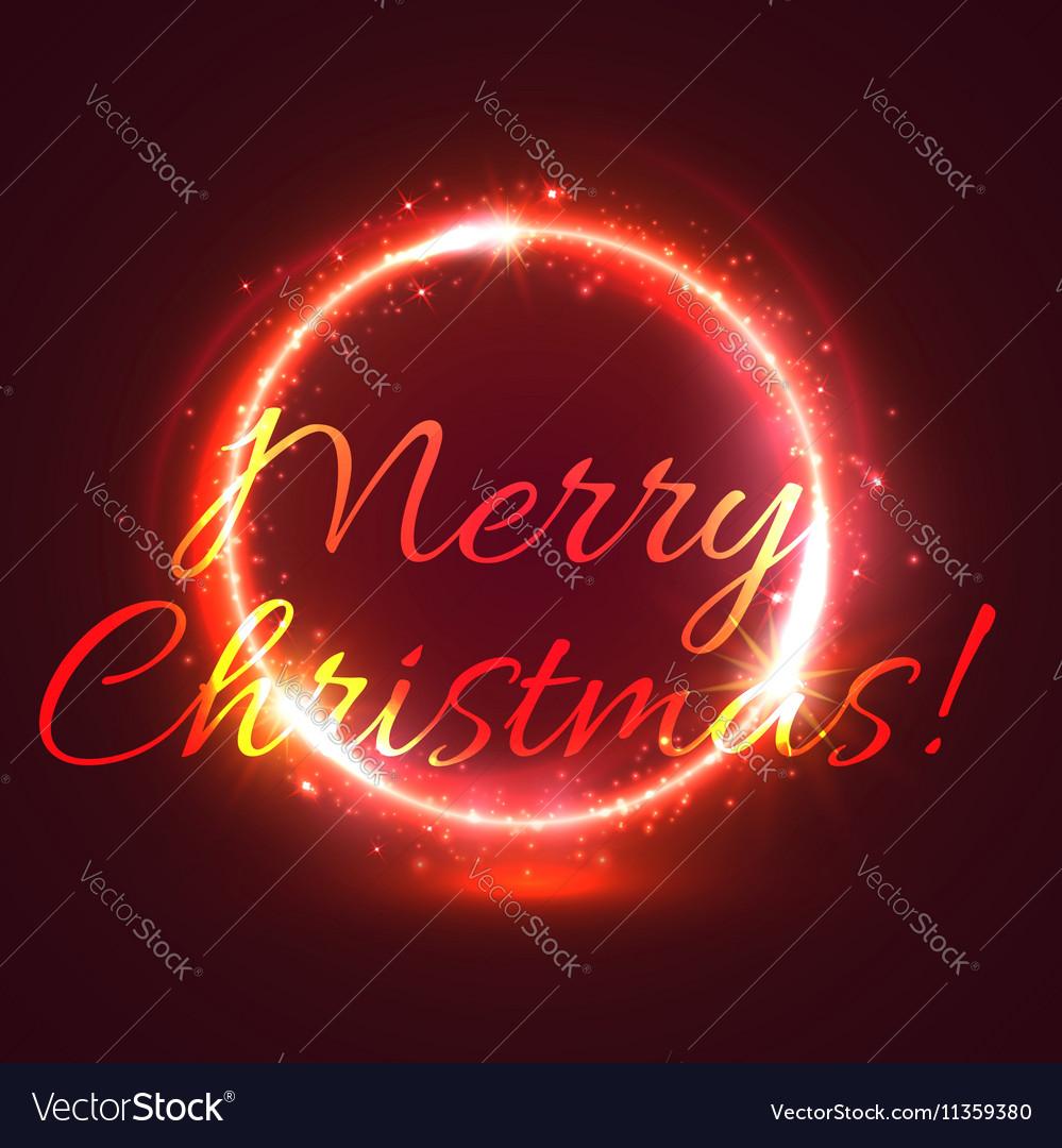 Shining Christmas star circle festive card design