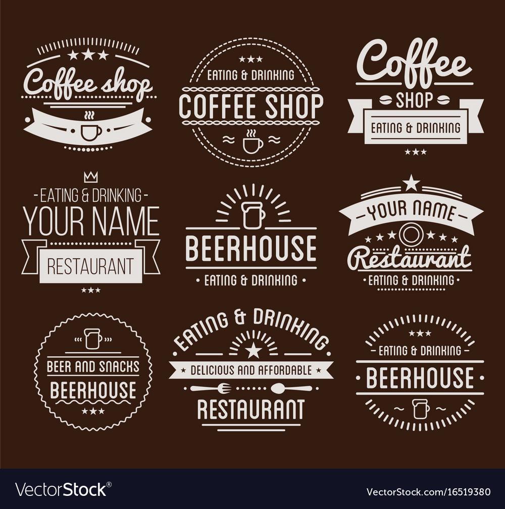 vintage logo coffee shop template restaurant vector image