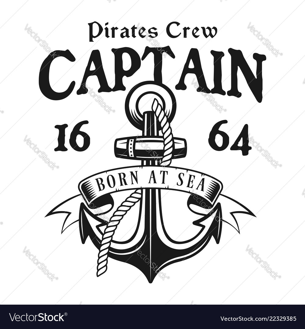Anchor with rope pirate vintage emblem