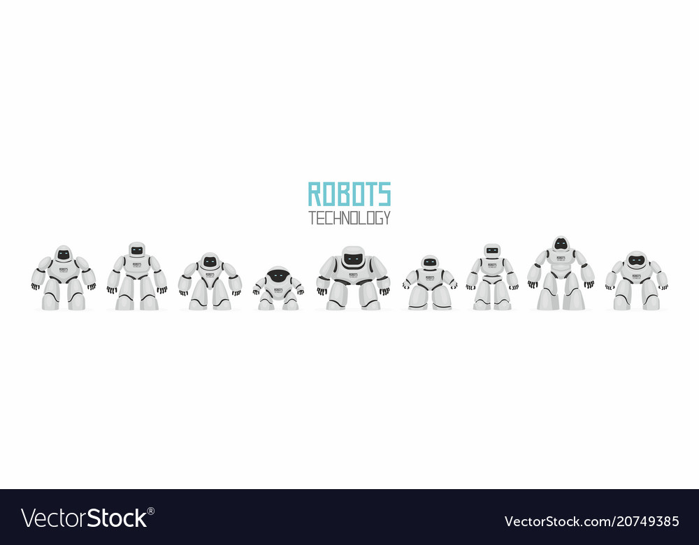 Background of white different robots