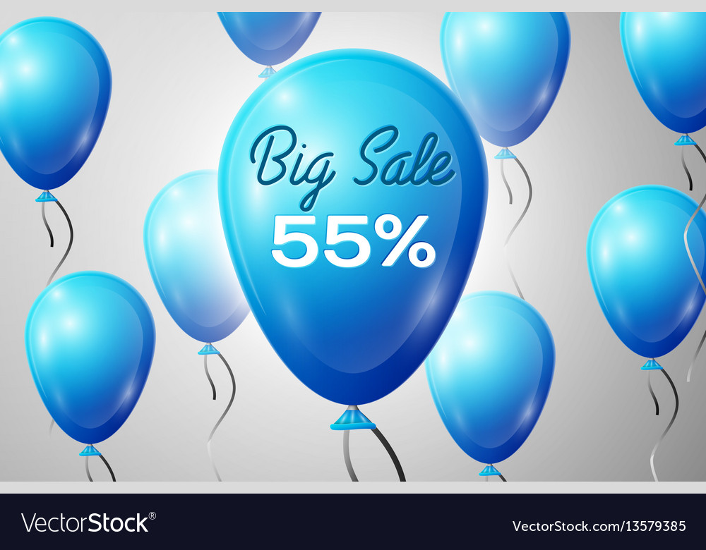 Blue balloons with an inscription big sale fifty