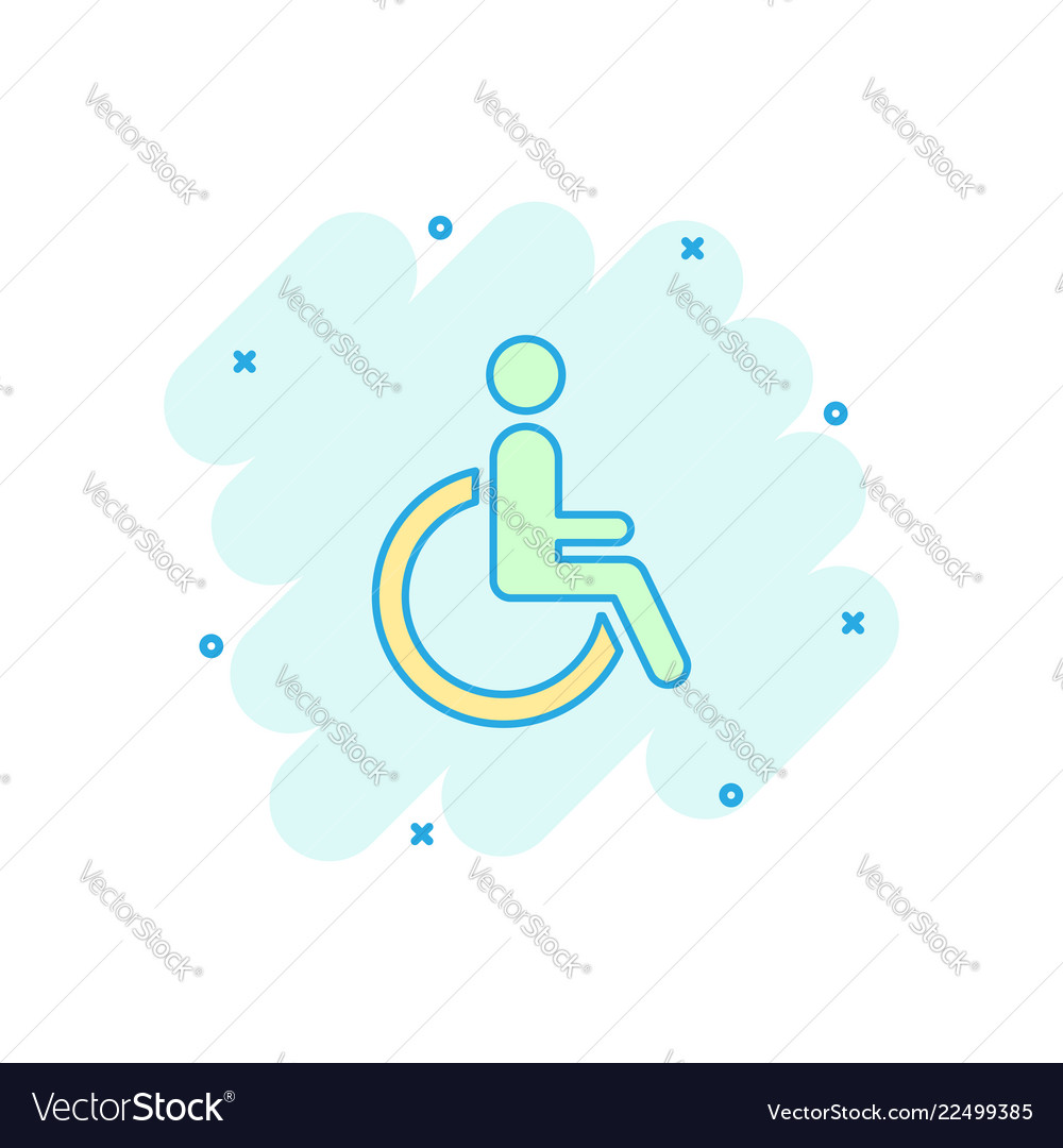Cartoon man in wheelchair icon in comic style