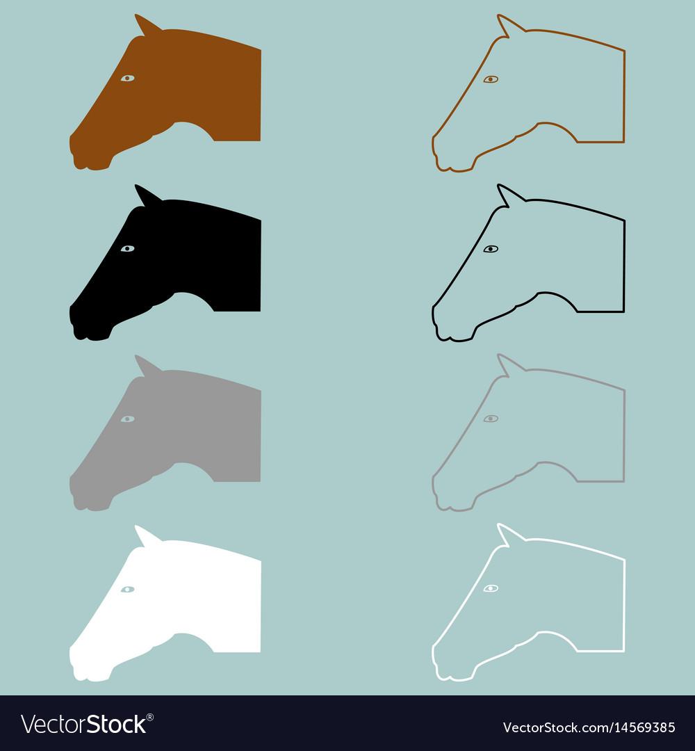 Horse head brown black grey white icon vector image
