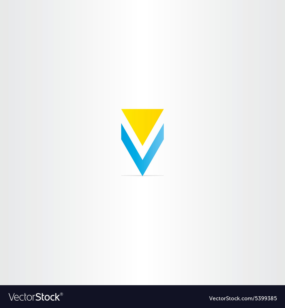 Letter v yellow blue logo design