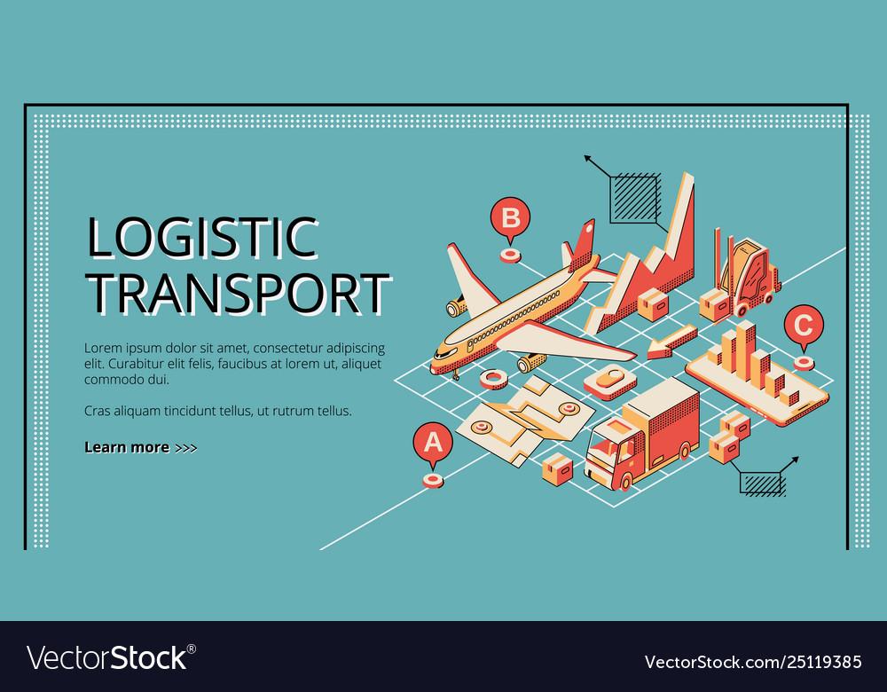 Logistic transport isometric web banner