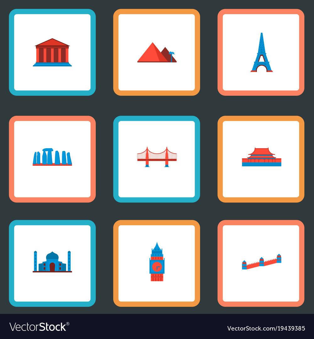 Set of landmarks icons flat style symbols with