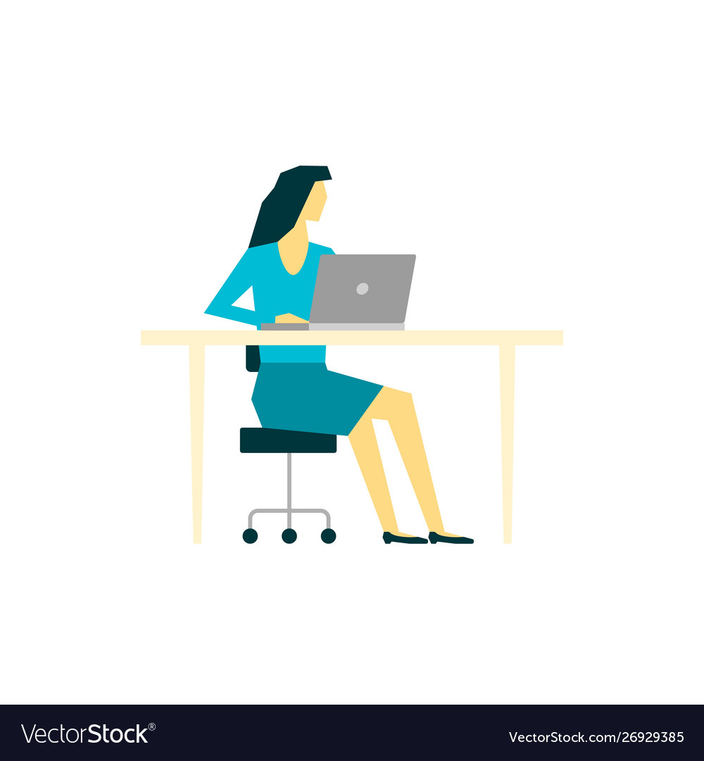 Woman working at laptop computer at her workplace