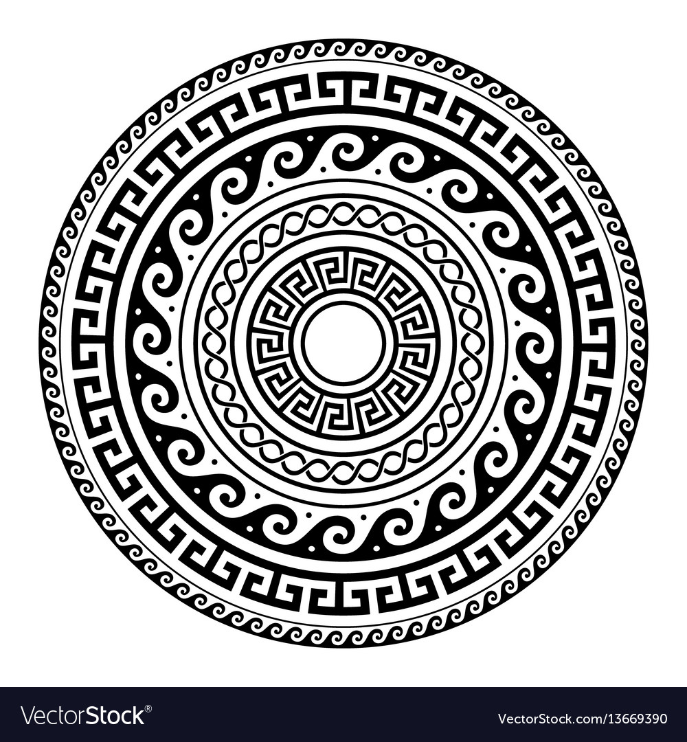 Ancient greek round key pattern - meander art