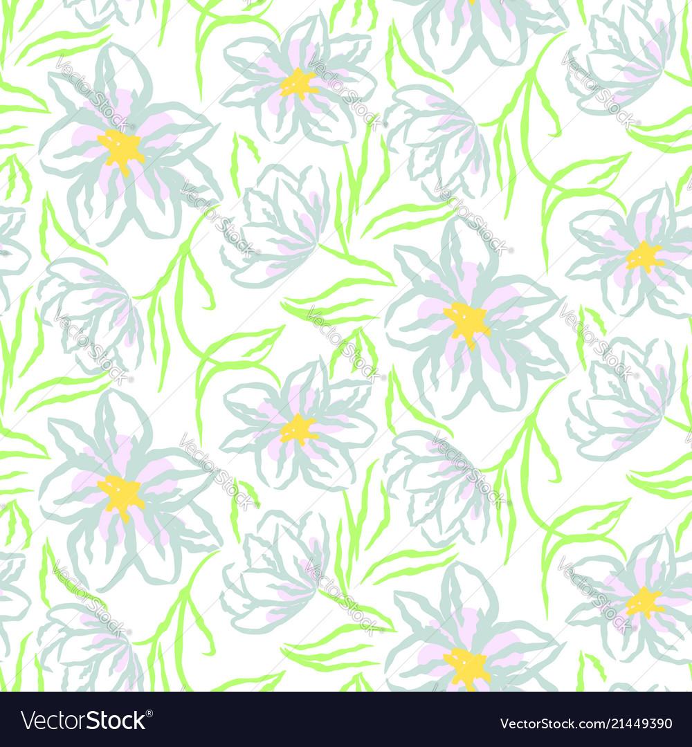 Chamomile flower hand drawn blue seamless
