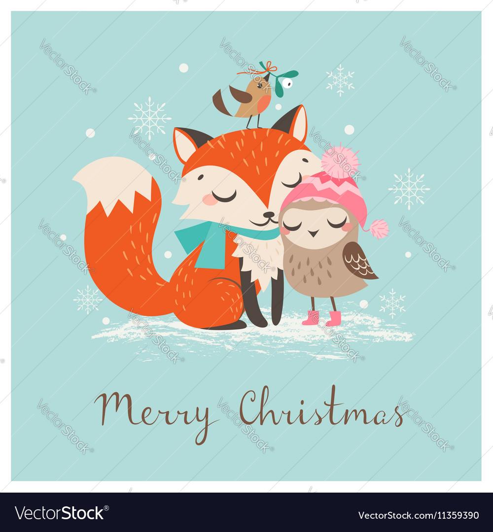 Christmas fox and owl