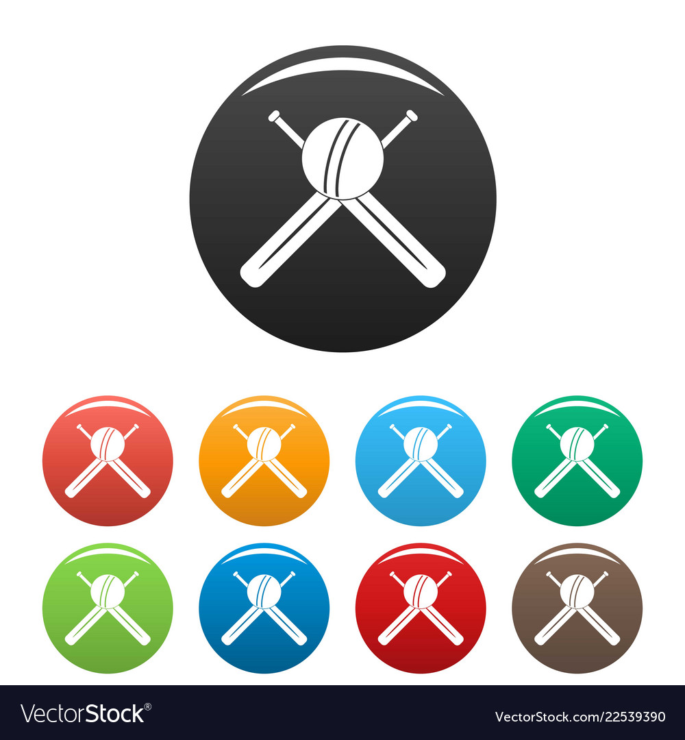 Cricket ball and bats icons set color