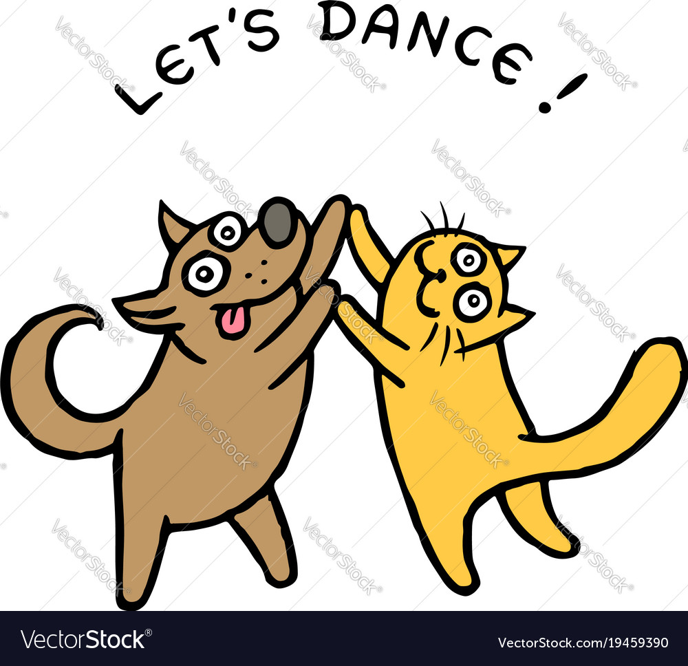 cute dog and cat dancers royalty free vector image