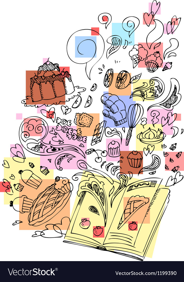 Dessert cooking book sketchy doodle vector image