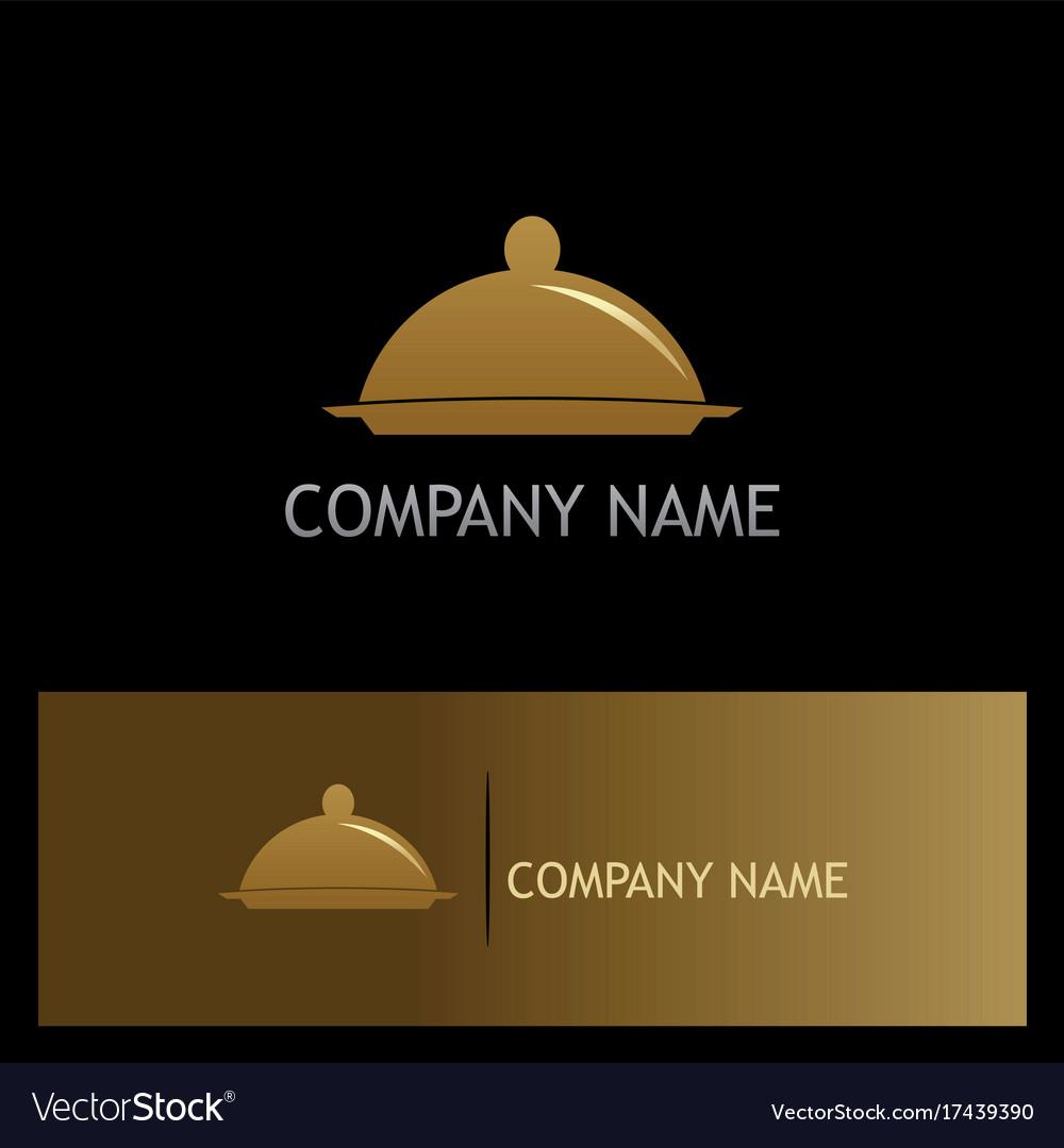 Food tray restaurant gold logo