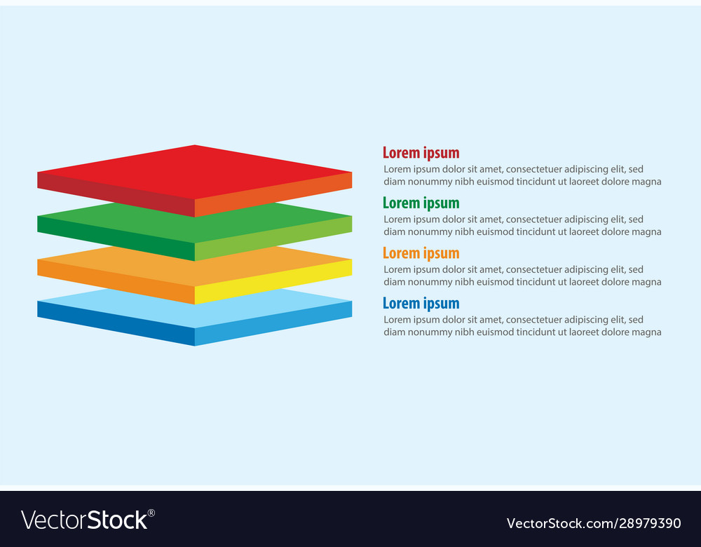 Four 3d square layers infographic template