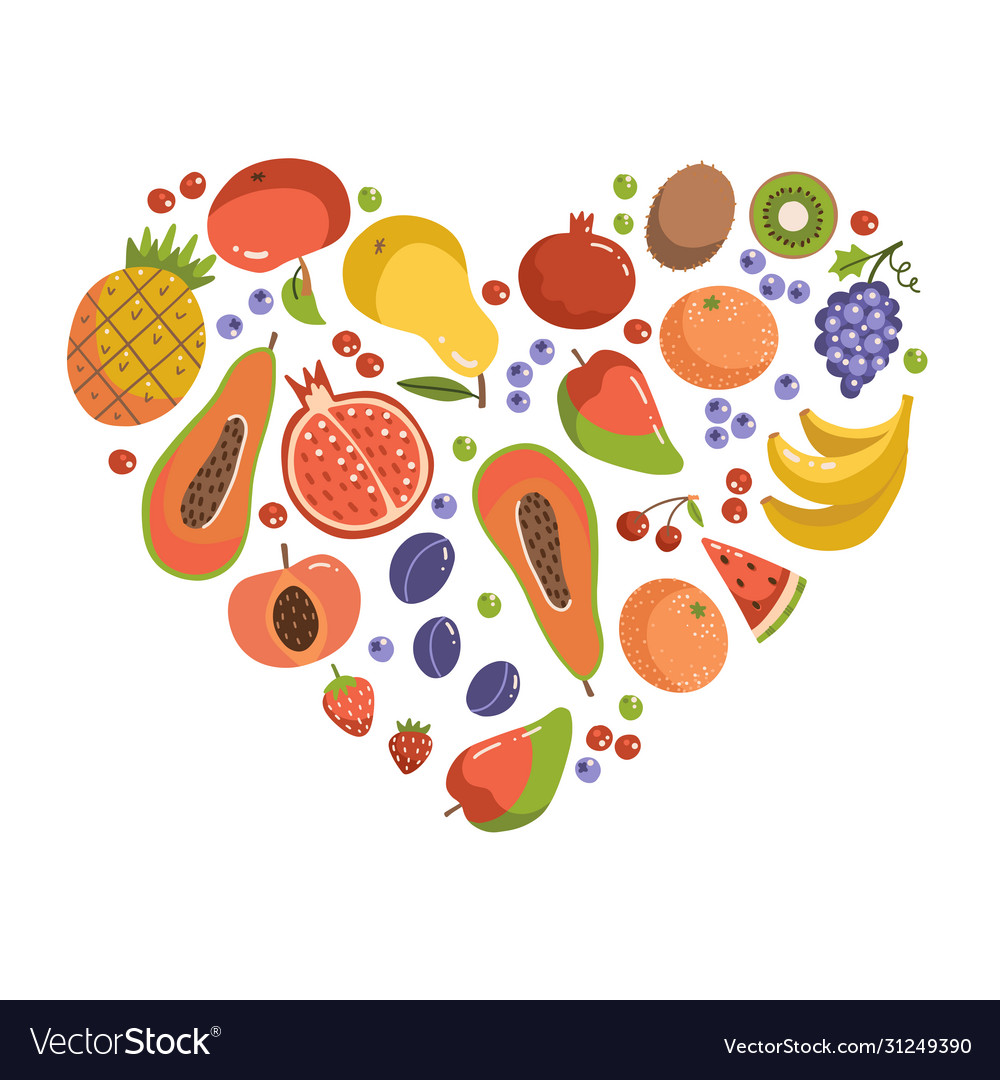 Fruits in heart shape set fruit icons forming