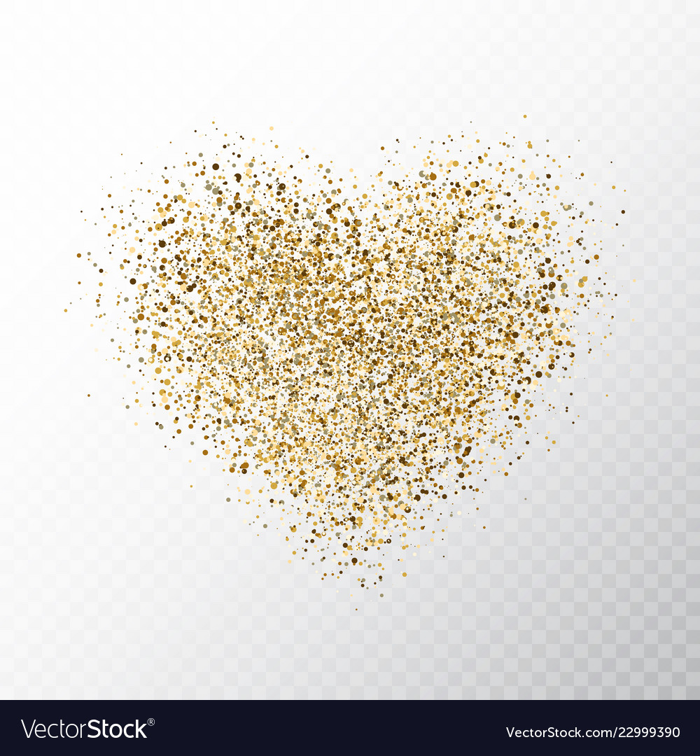 Glitter golden hearts isolated on transparent