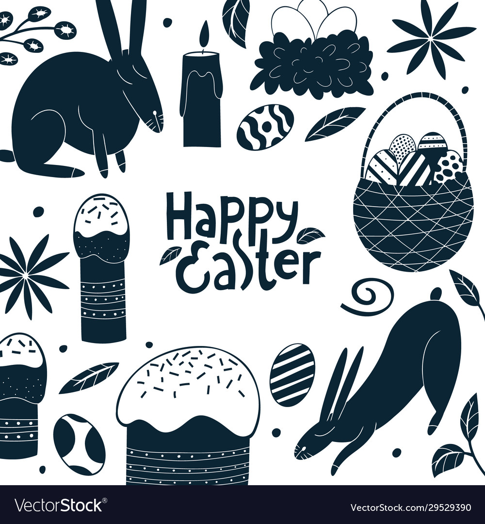 Happy easter design template spring holiday