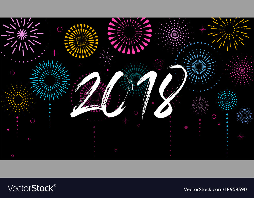 happy new year banner poster with fireworks vector image