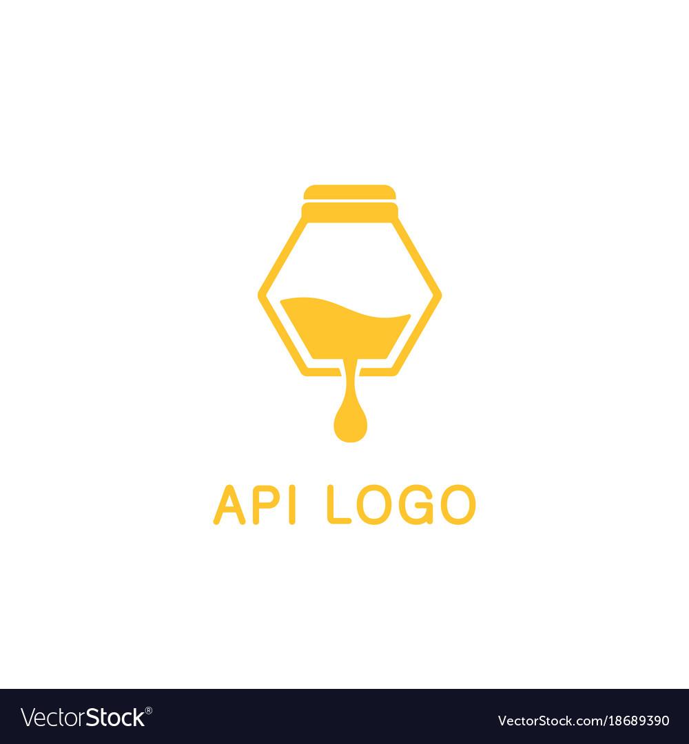 Logo beekeeping honey products api vector image