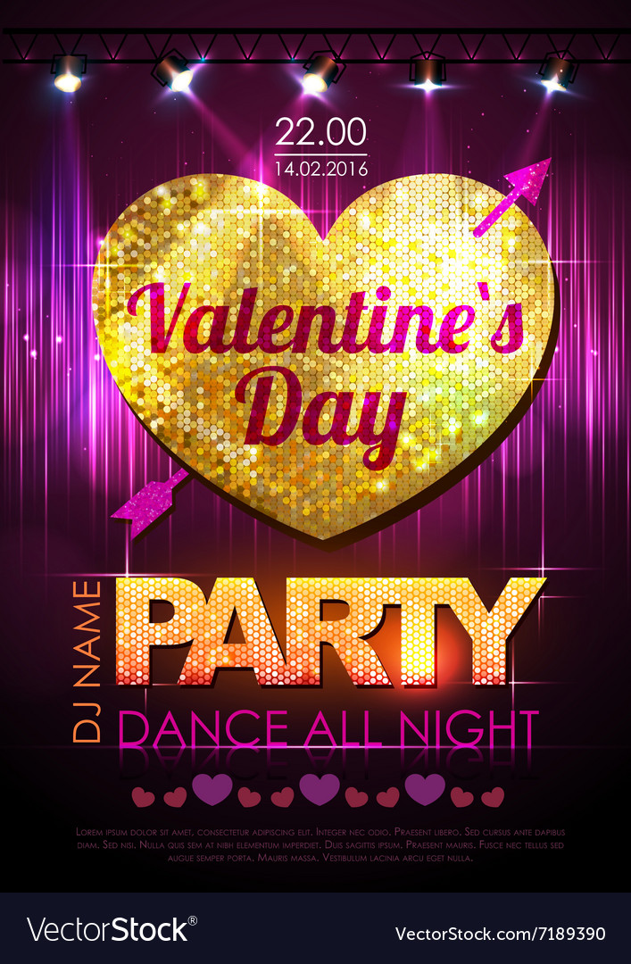 Love heart background Valentine Disco party vector image