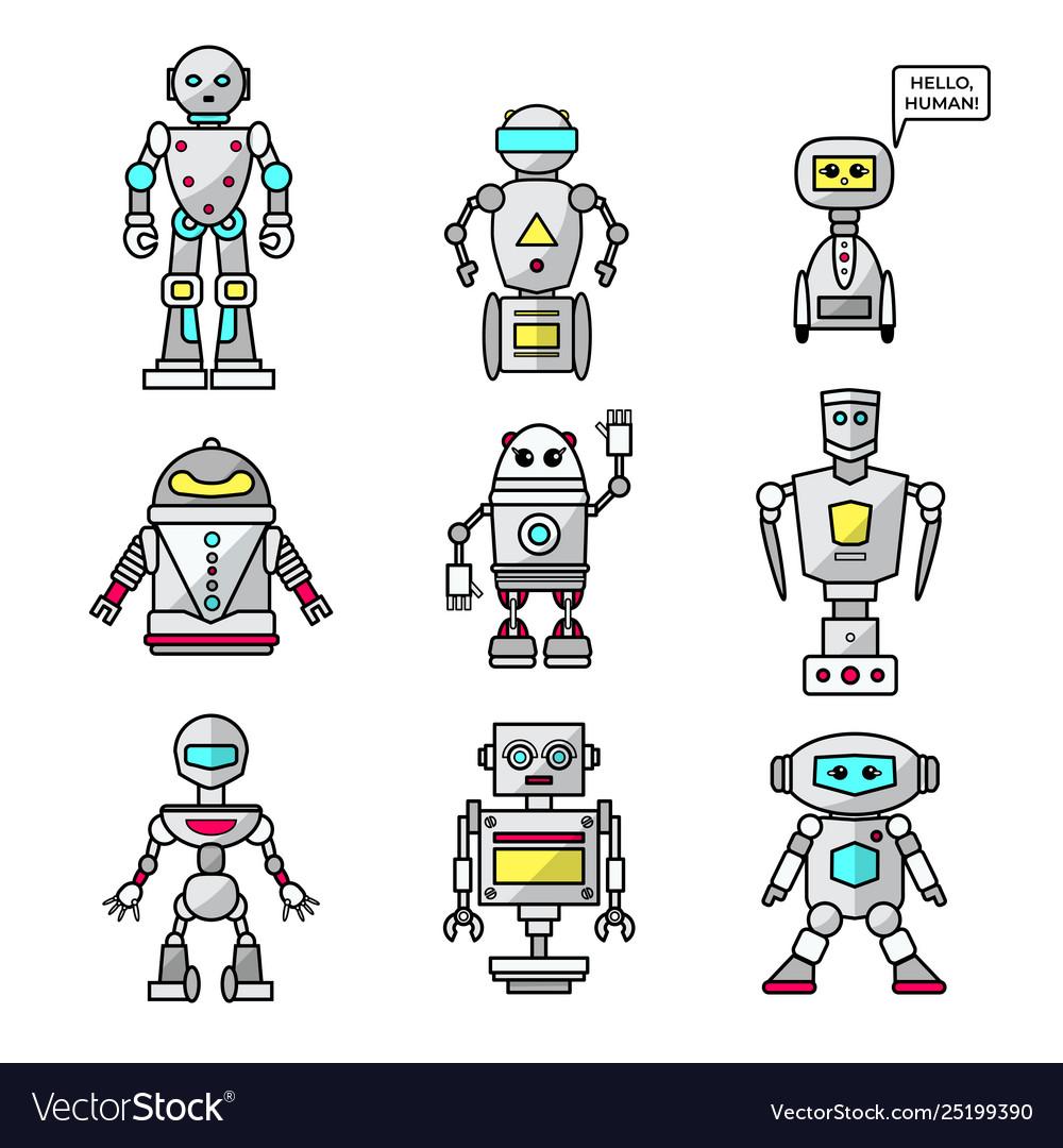 Set cartoon friendly robots