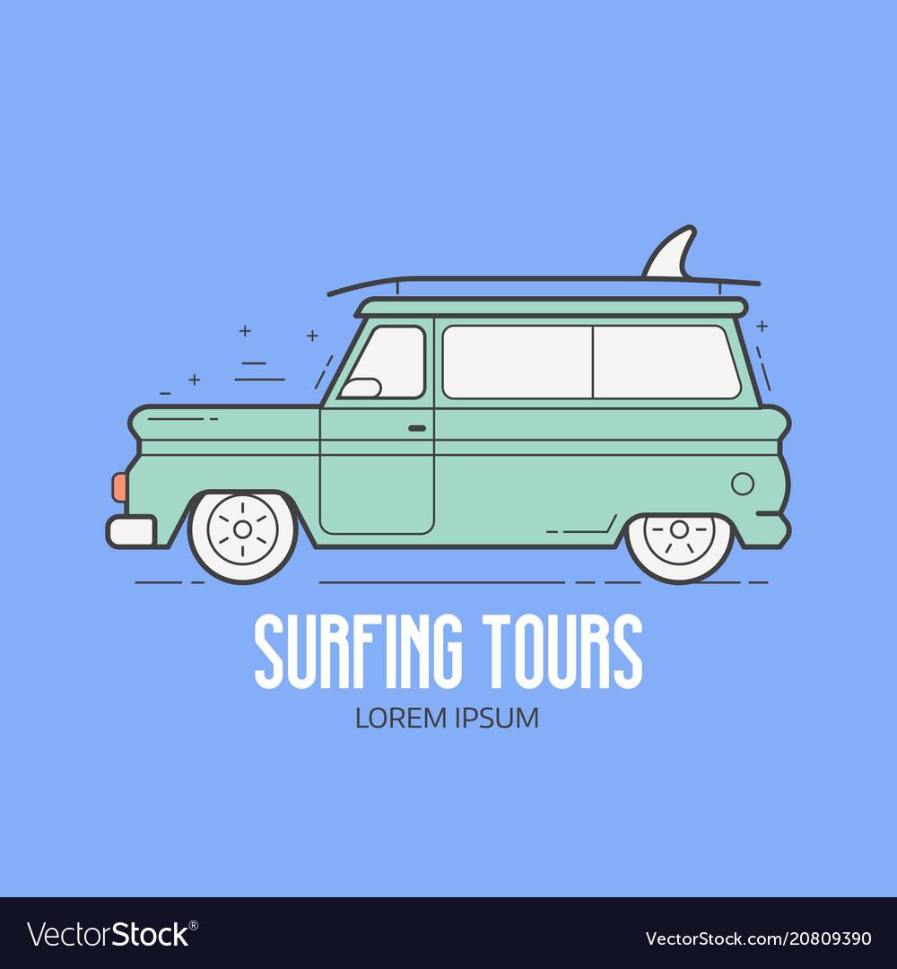 Surfing tours travel logotype
