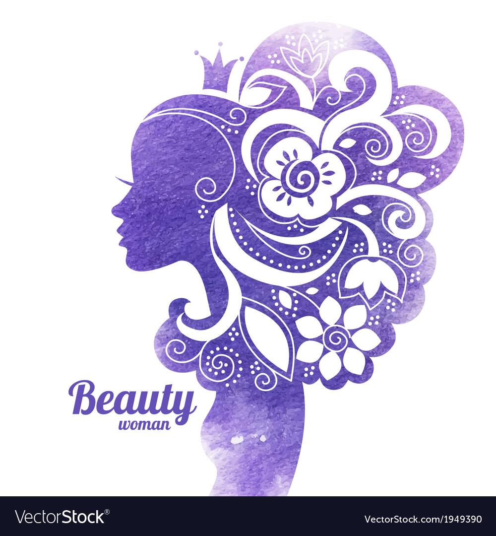 Watercolor beautiful woman silhouette with flowers vector image