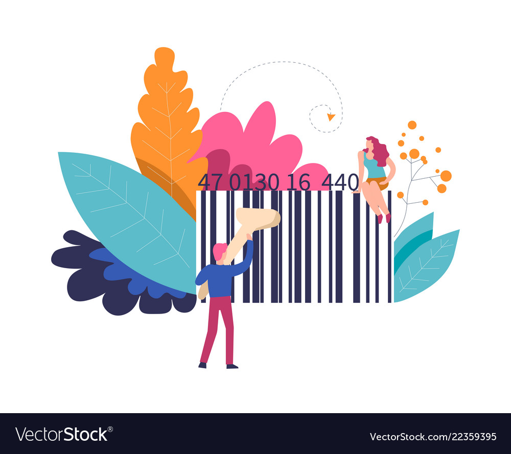 Bar code of product and person with scanner
