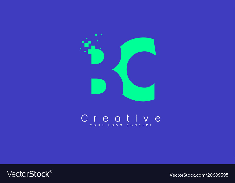 Bc letter logo design with negative space concept