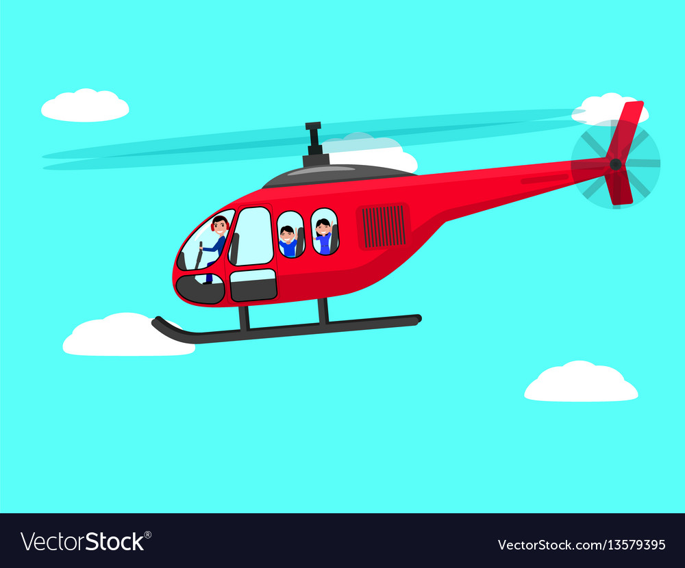 Cartoon Helicopter People Flying Sky Royalty Free Vector