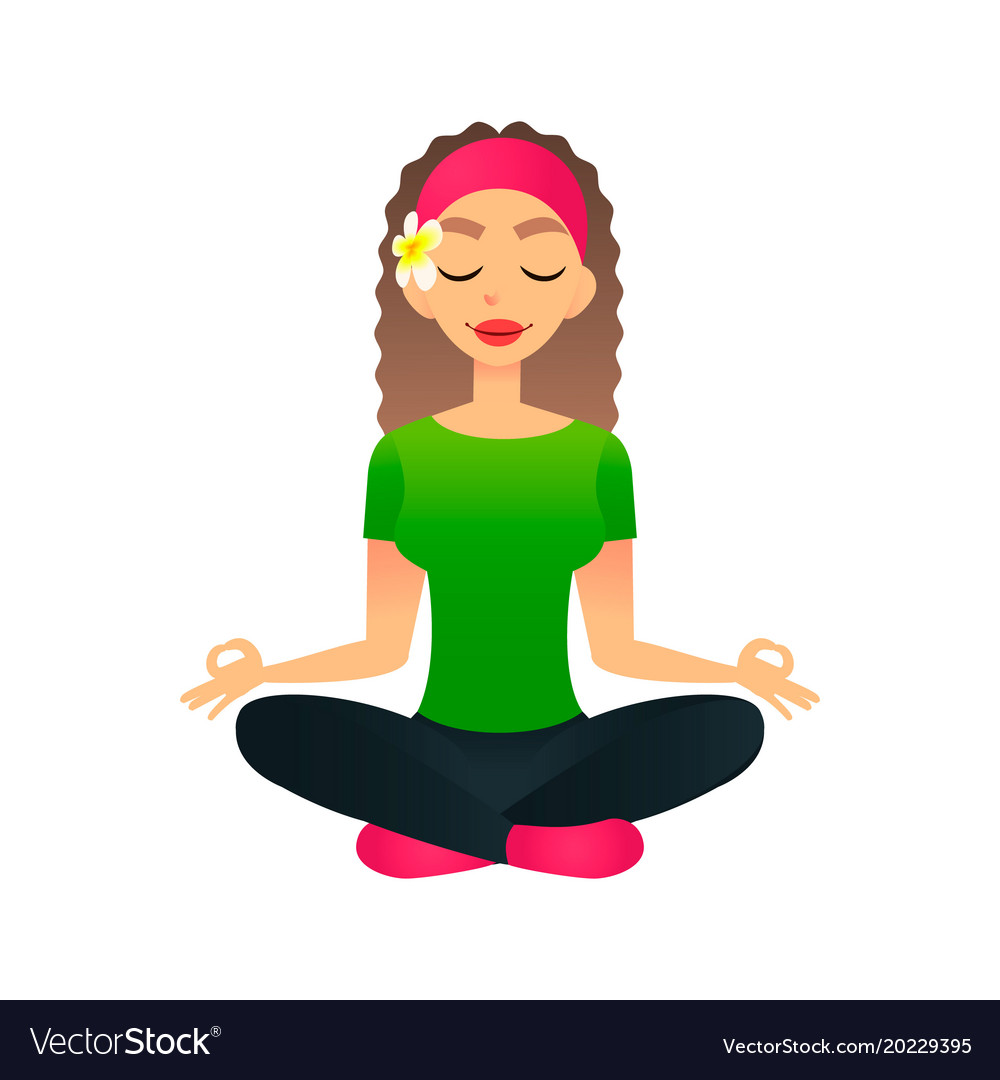 Cartoon Young Beautiful Girl Practicing Yoga In A Vector Image