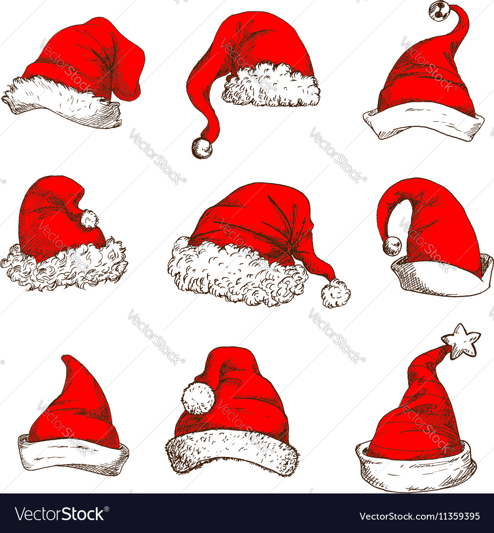 Christmas red hat or cap of Santa and elf icon set vector image