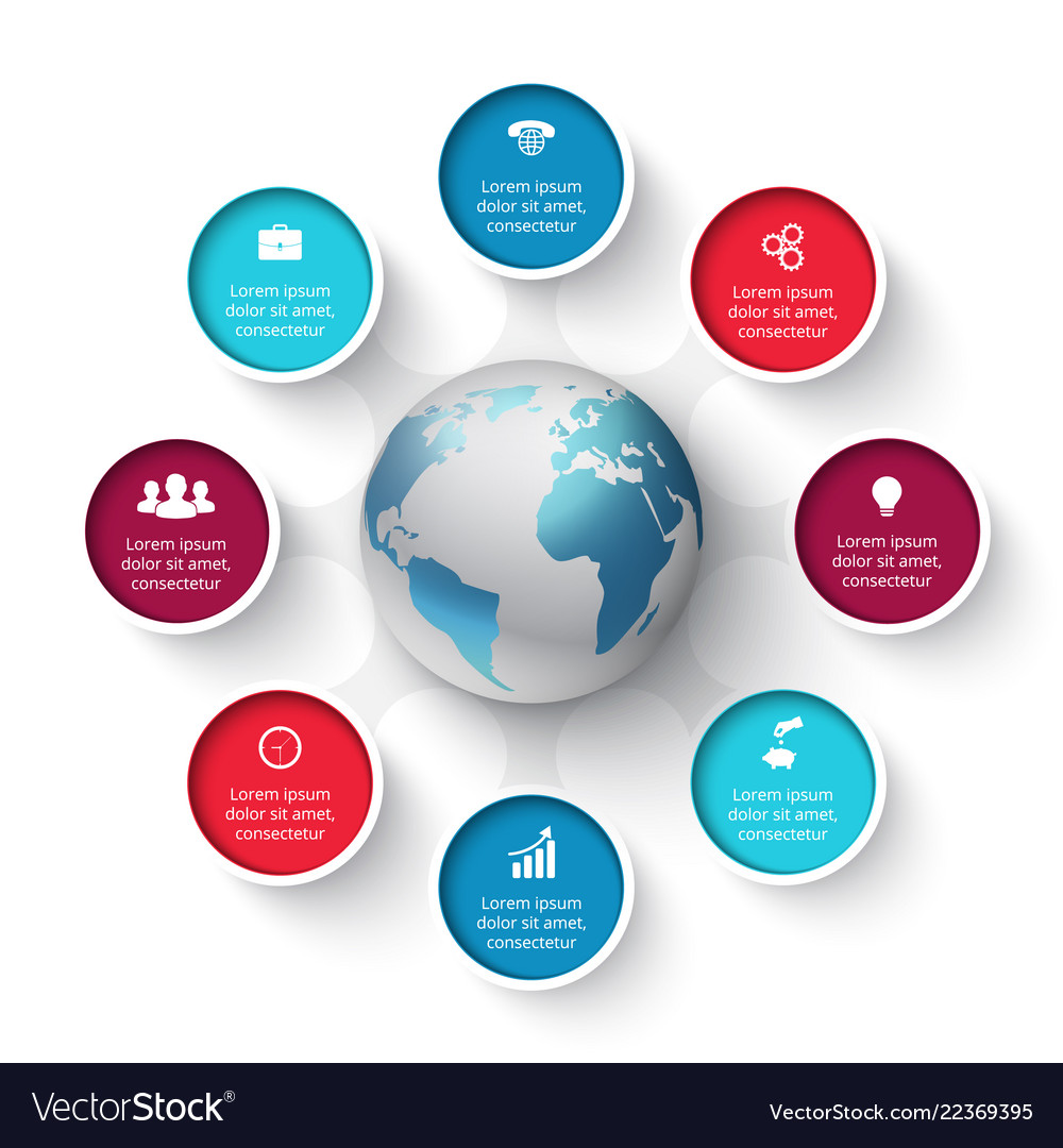 Circle elements with earth for infographic