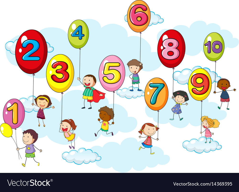 Counting numbers with kids on balloons Royalty Free Vector