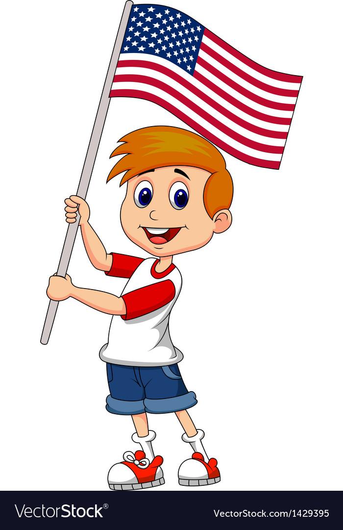 American flag kid. Cute boy cartoon waving