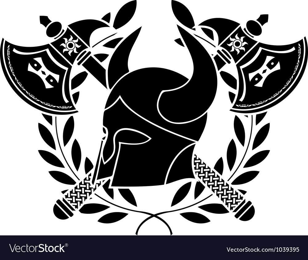 Fantasy barbarian helmet with axes vector image