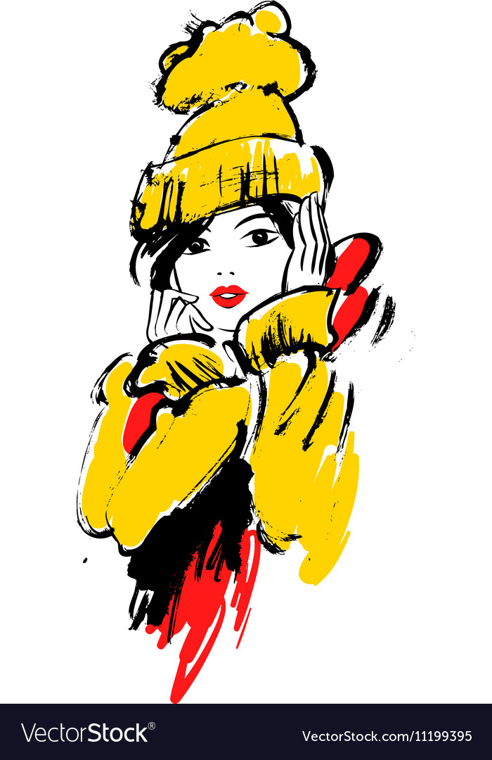 Fashion girl in sketch style
