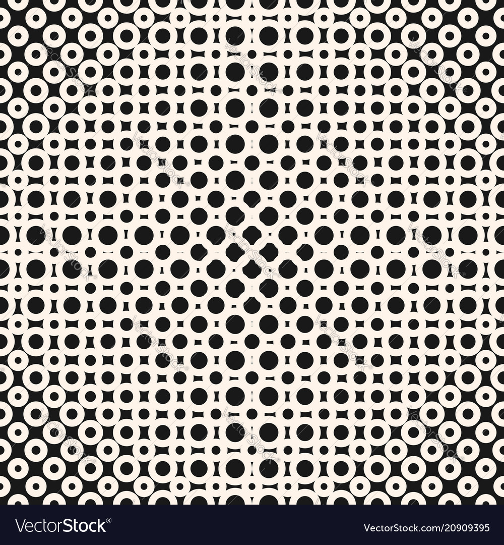 Geometric monochrome halftone seamless pattern vector image