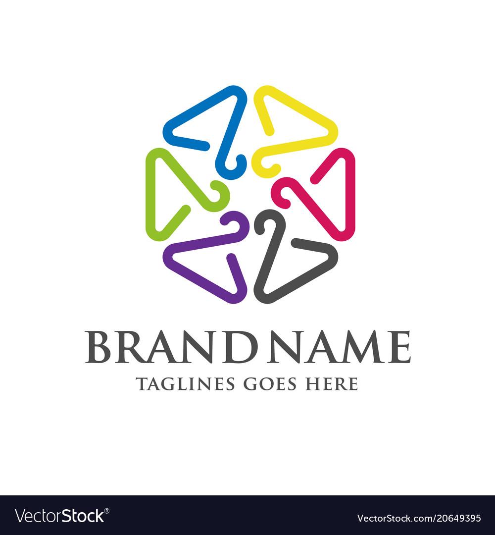hanger line stars form logo royalty free vector image