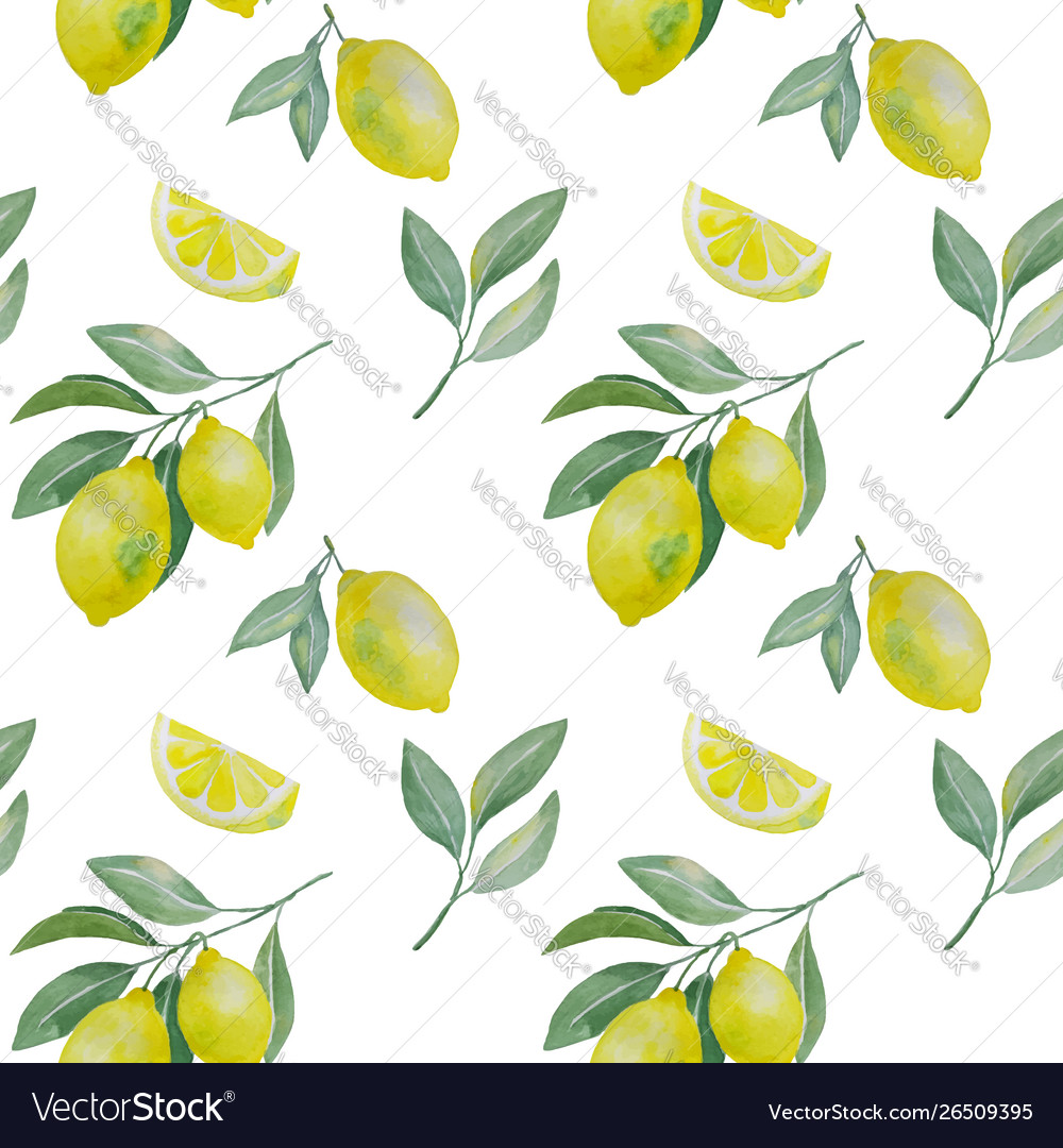 Lemon branchand slice seamless pattern