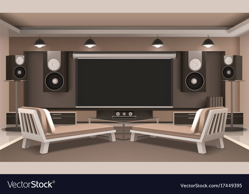 Modern Home Theater Interior Vector Image