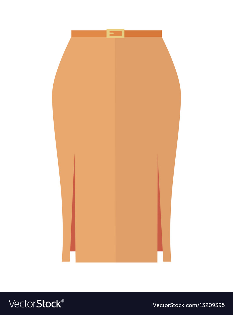 54d229c4e Orange pencil skirt with belt flat icon Royalty Free Vector