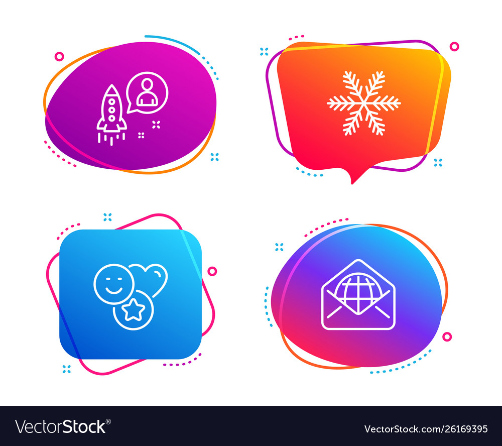 Snowflake startup and smile icons set web mail