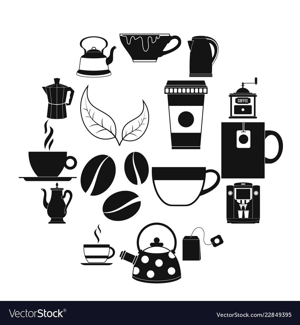 Tea and coffee icons set