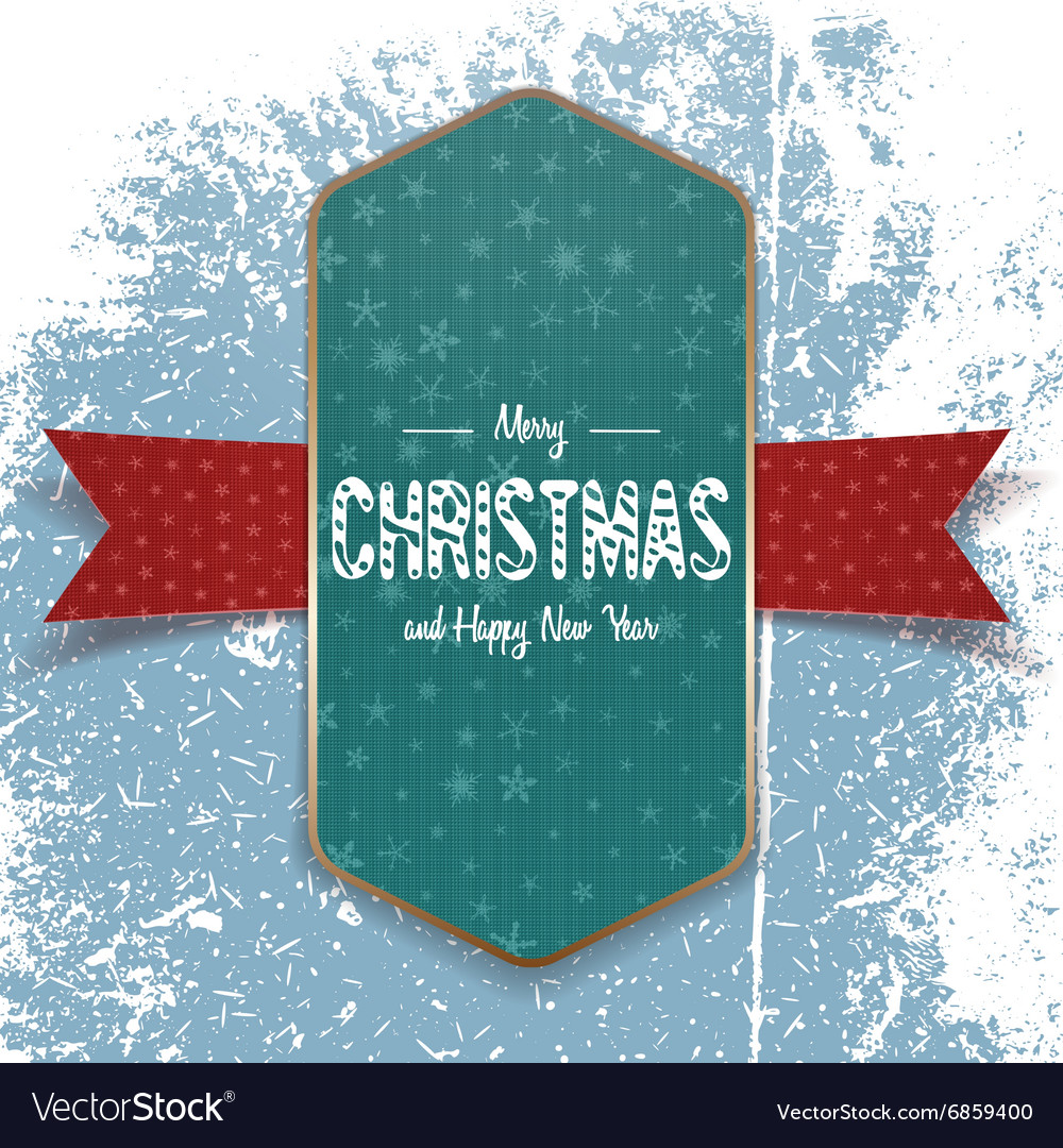Christmas green Banner Template with white Ribbon