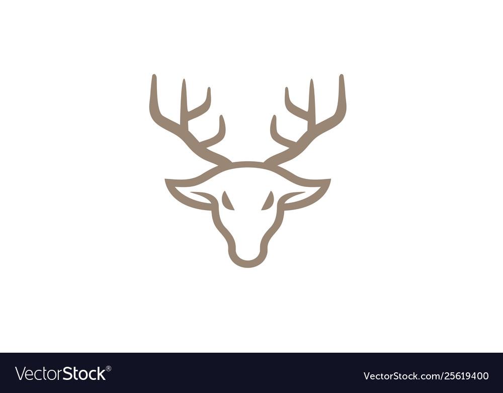 Creative deer head line logo design symbol