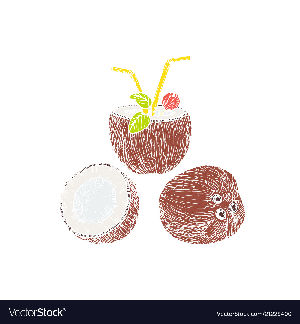 Half of coconut and coconut cocktail composition