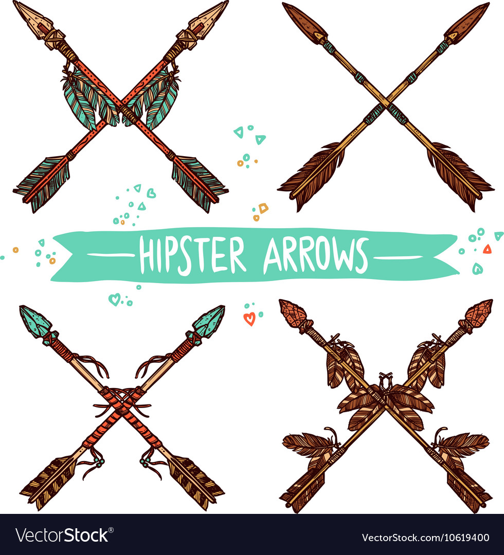 Hipster Color Sketch Arrows Collection