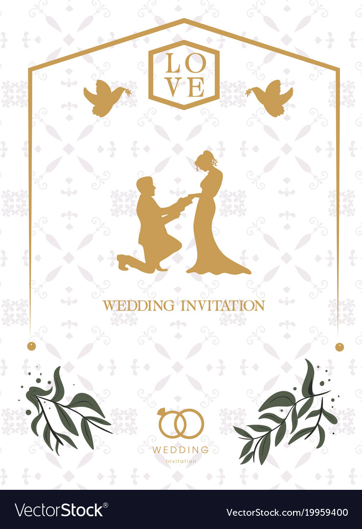 Love Wedding Invitation Retro White